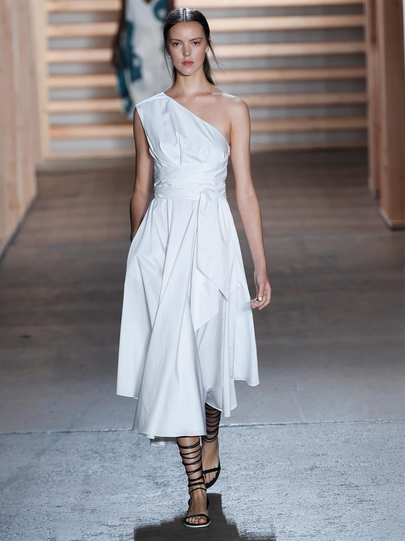 01de0563ed3 Tibi One-Shoulder Cotton-Poplin Dress in White - Lyst