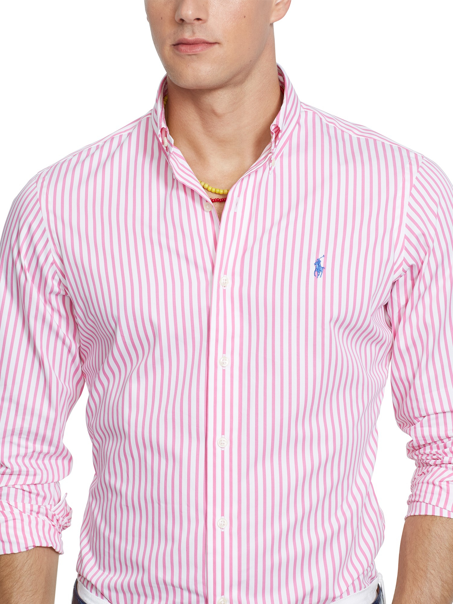 9cae8984a7 ... where to buy polo ralph lauren bengal stripe poplin shirt in pink for  men lyst 2dc15