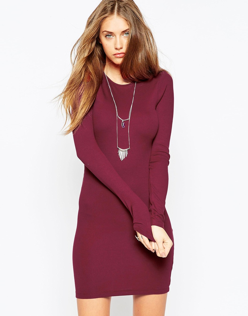 59a285b4fab ASOS Mini Bodycon Dress With Long Sleeves In Rib in Red - Lyst