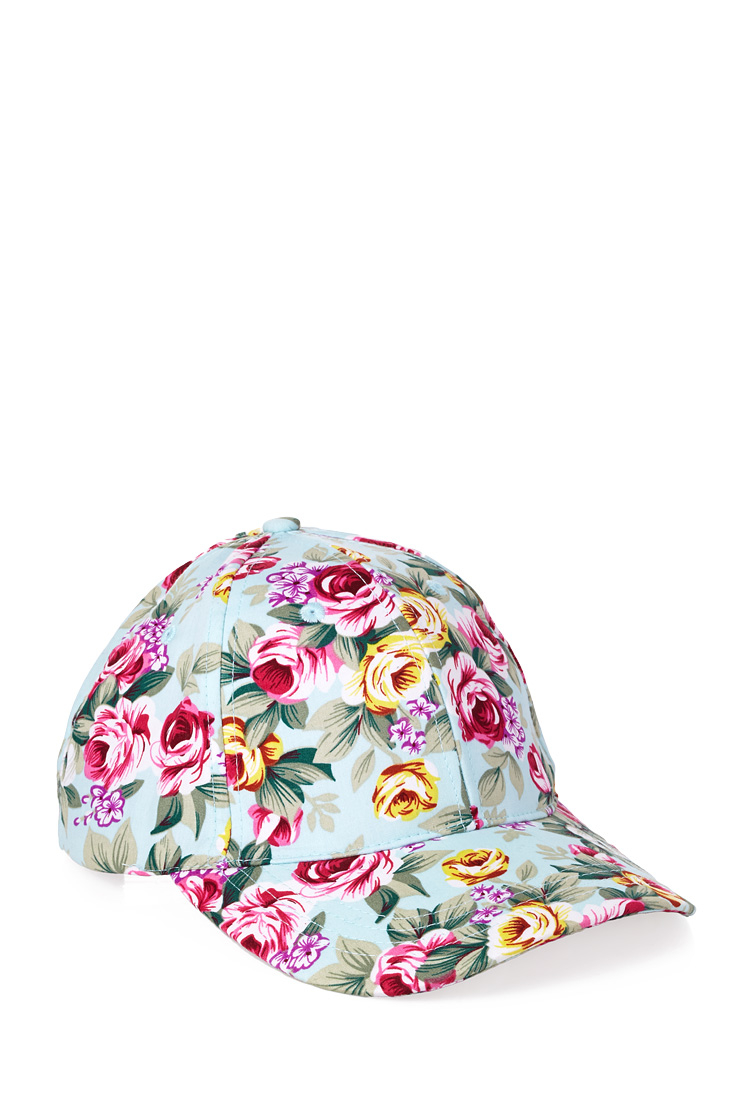 forever 21 floral baseball cap in blue for lyst