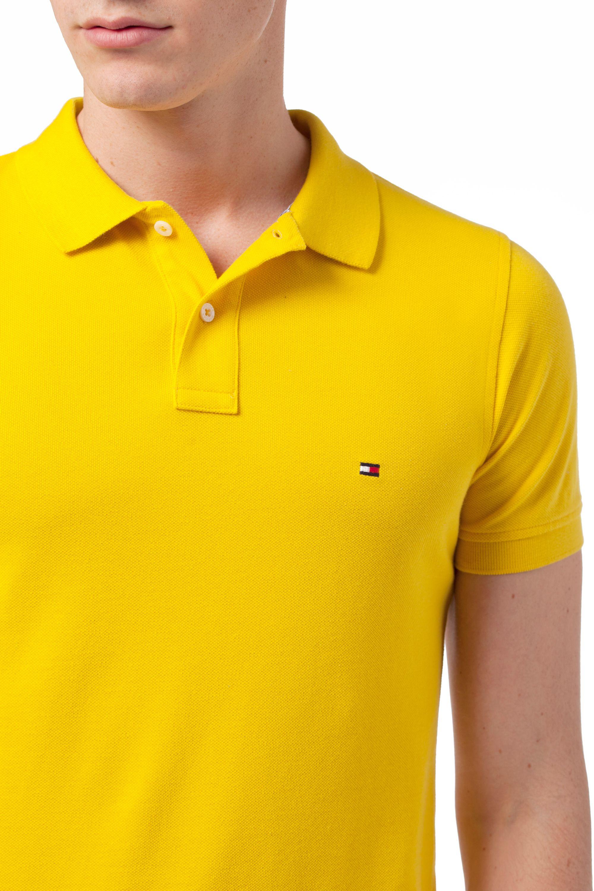 tommy hilfiger slim fit polo shirt in yellow for men lyst. Black Bedroom Furniture Sets. Home Design Ideas