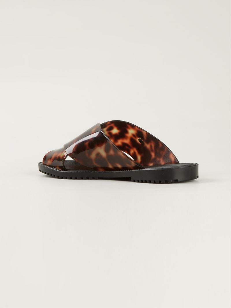 0066c1d815bd83 Lyst - Melissa Tortoise Shell Flat Sandals in Black