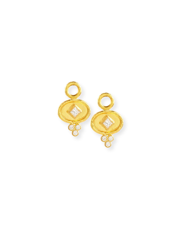 Elizabeth Locke 19k Gold Oval Diamond Earring Pendants lcoShHj8yl