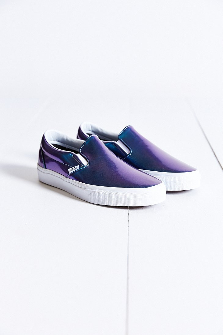e4fea55072 Lyst - Vans Classic Patent Leather Slip-On Women S Sneaker in Blue