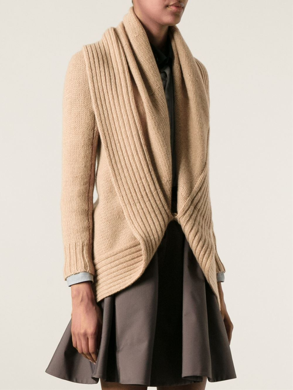 Ralph Lauren Black Label Shawl Collar Cardigan In Natural