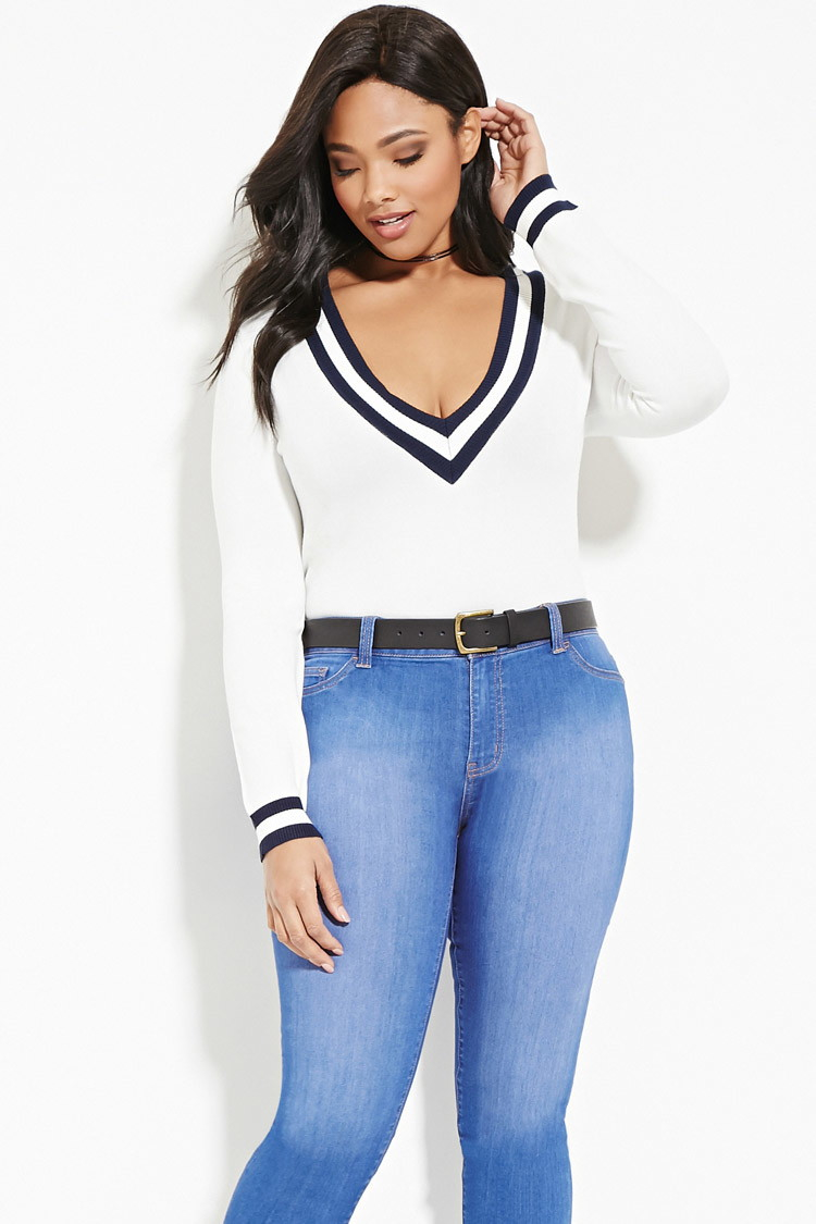 Lyst Forever 21 Plus Size Stripe Trimmed Sweater In White