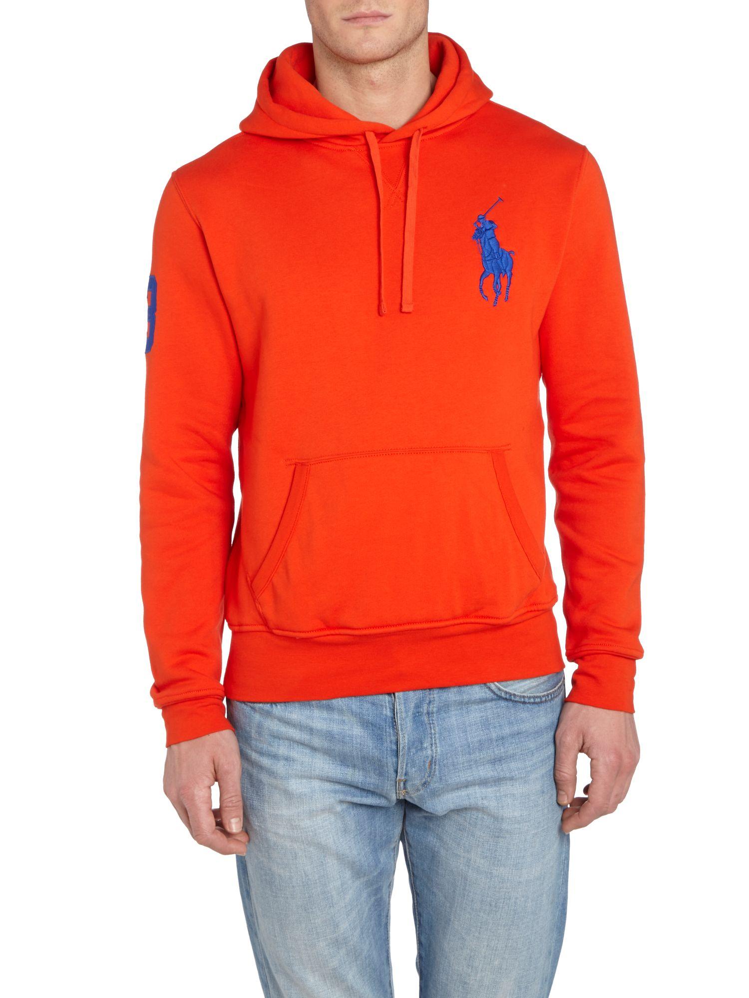 Polo ralph lauren Big Pony Player Fleece Hooded Sweatshirt in Red for Men | Lyst