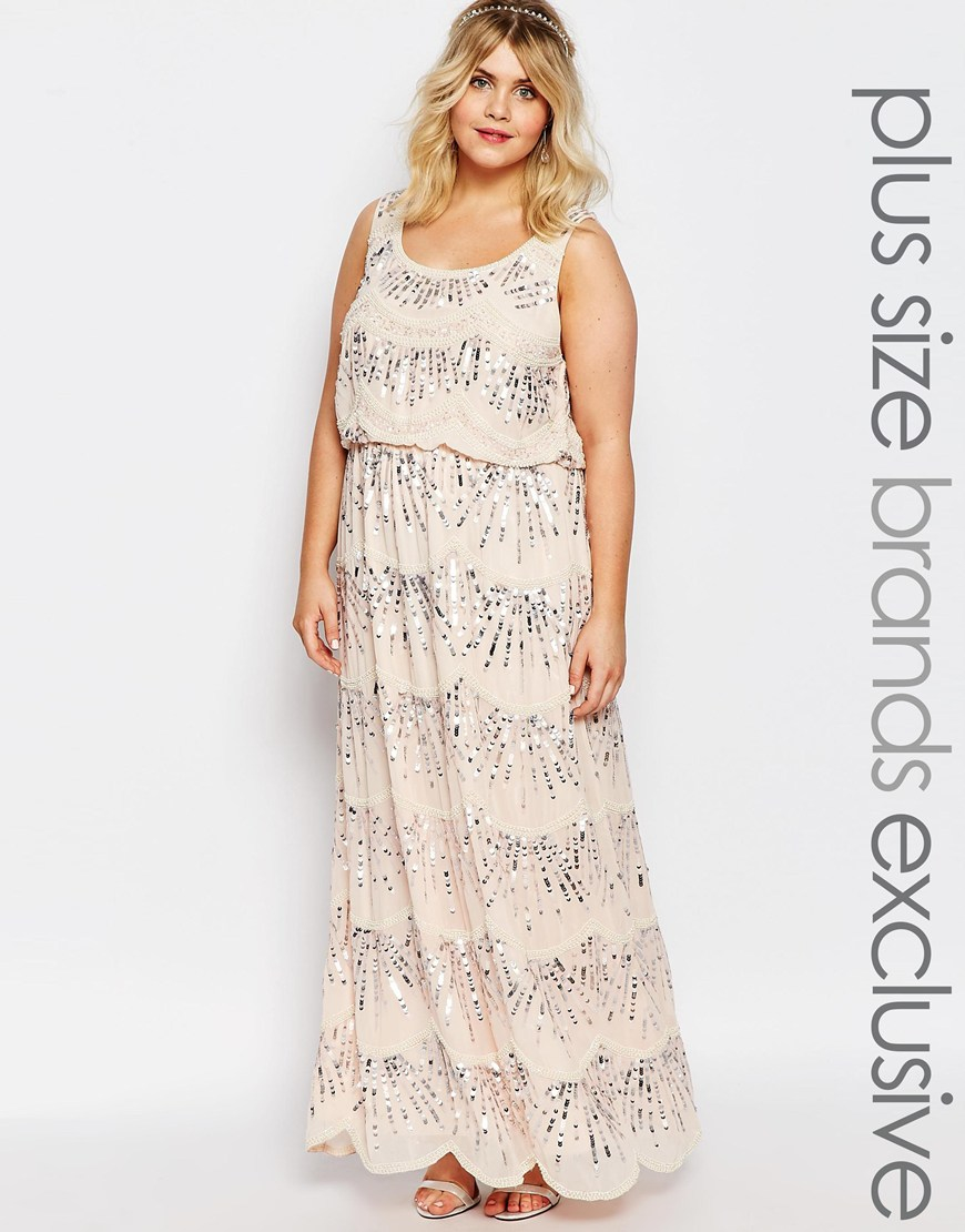 15878c0a7487c Lyst - Lovedrobe Luxe Chiffon Embellished Maxi Dress in Pink