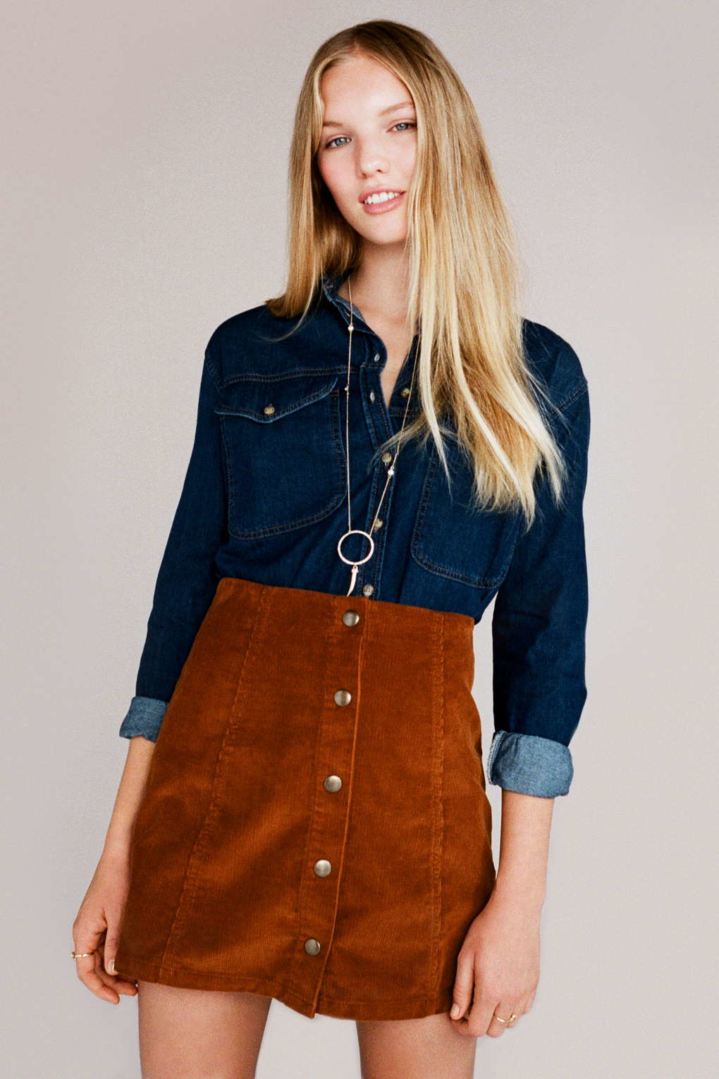 Topshop Cord Button Front A-line Skirt in Brown | Lyst
