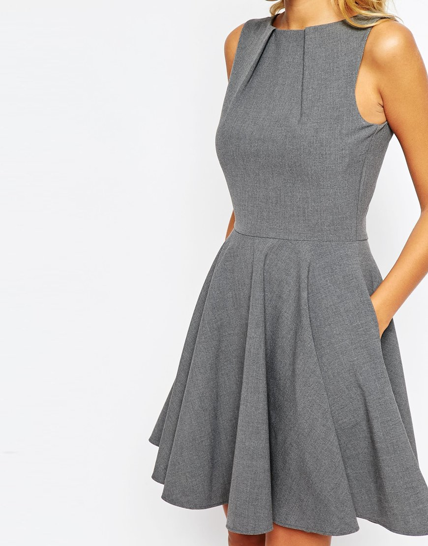Lyst Closet Full Circle Skater Dress In Gray