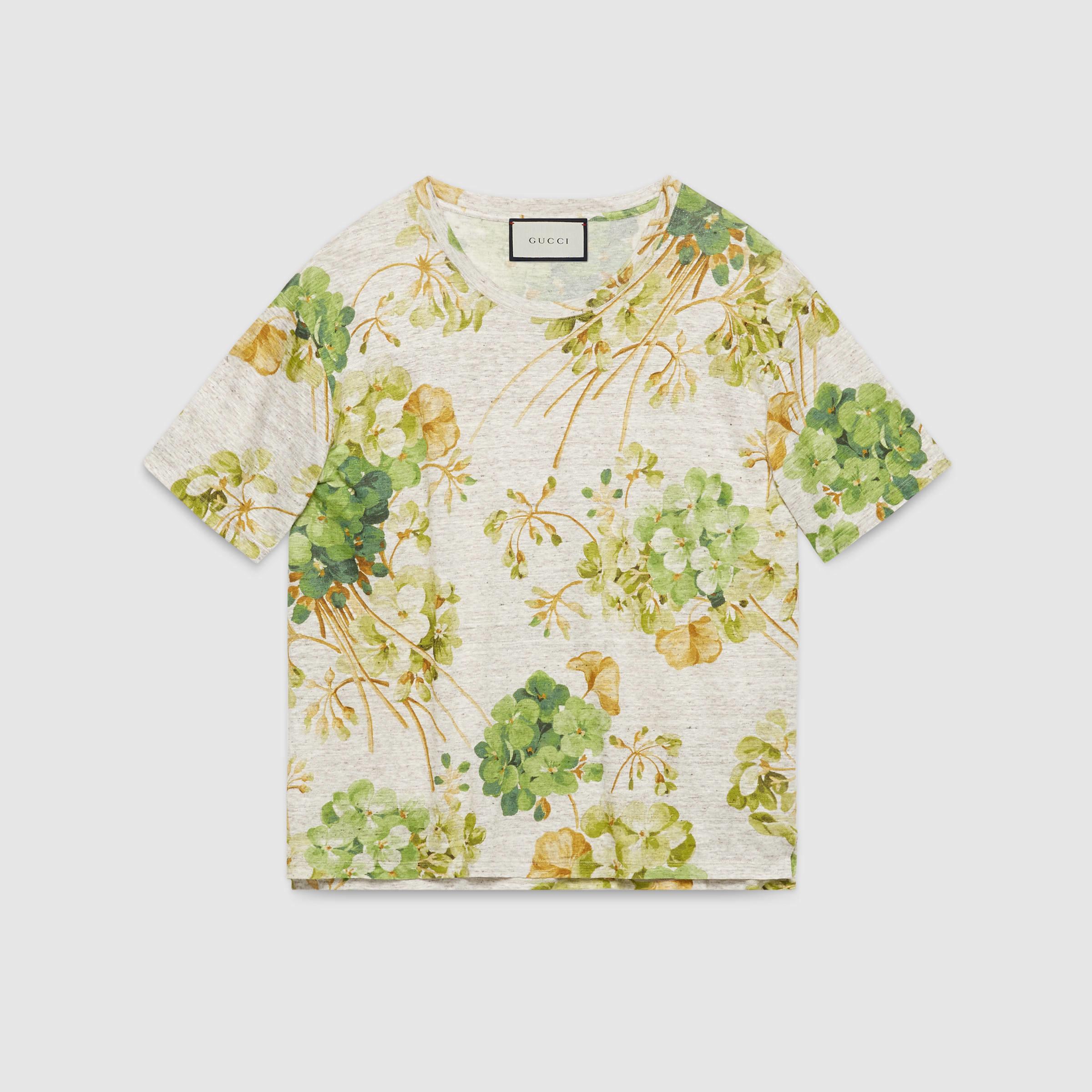 f8093b9a8 Gucci Blooms Print Linen Jersey T-shirt for Men - Lyst