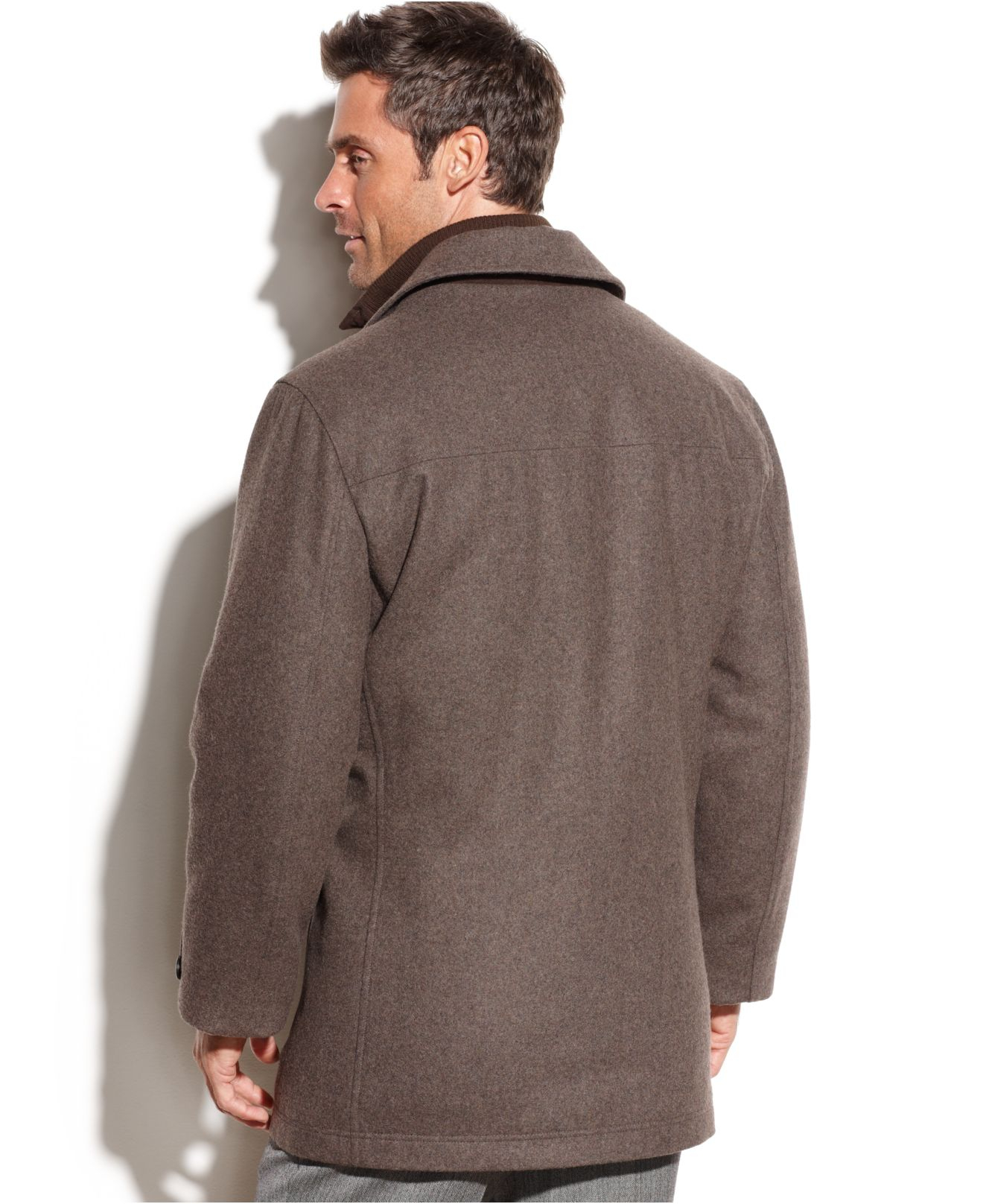 London fog Bristol Microsuede Bib Wool-Blend Car Coat in Brown for ...