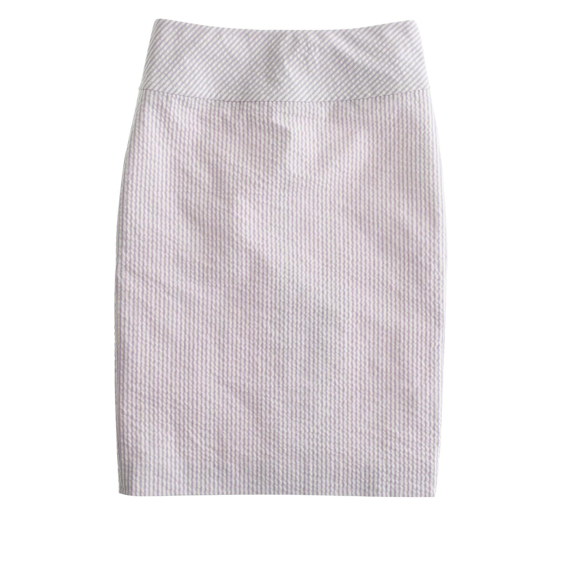 j crew seersucker pencil skirt in purple lyst