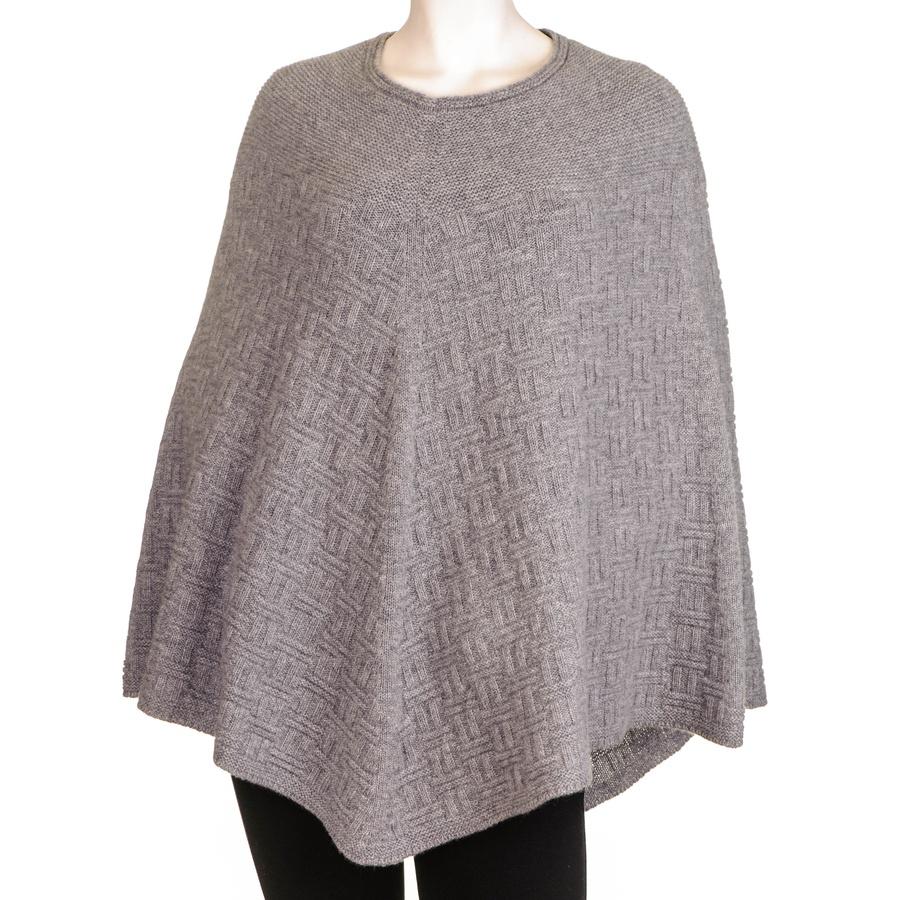 Black.co.uk Grey Geometric Knit Cashmere Poncho in Gray Lyst