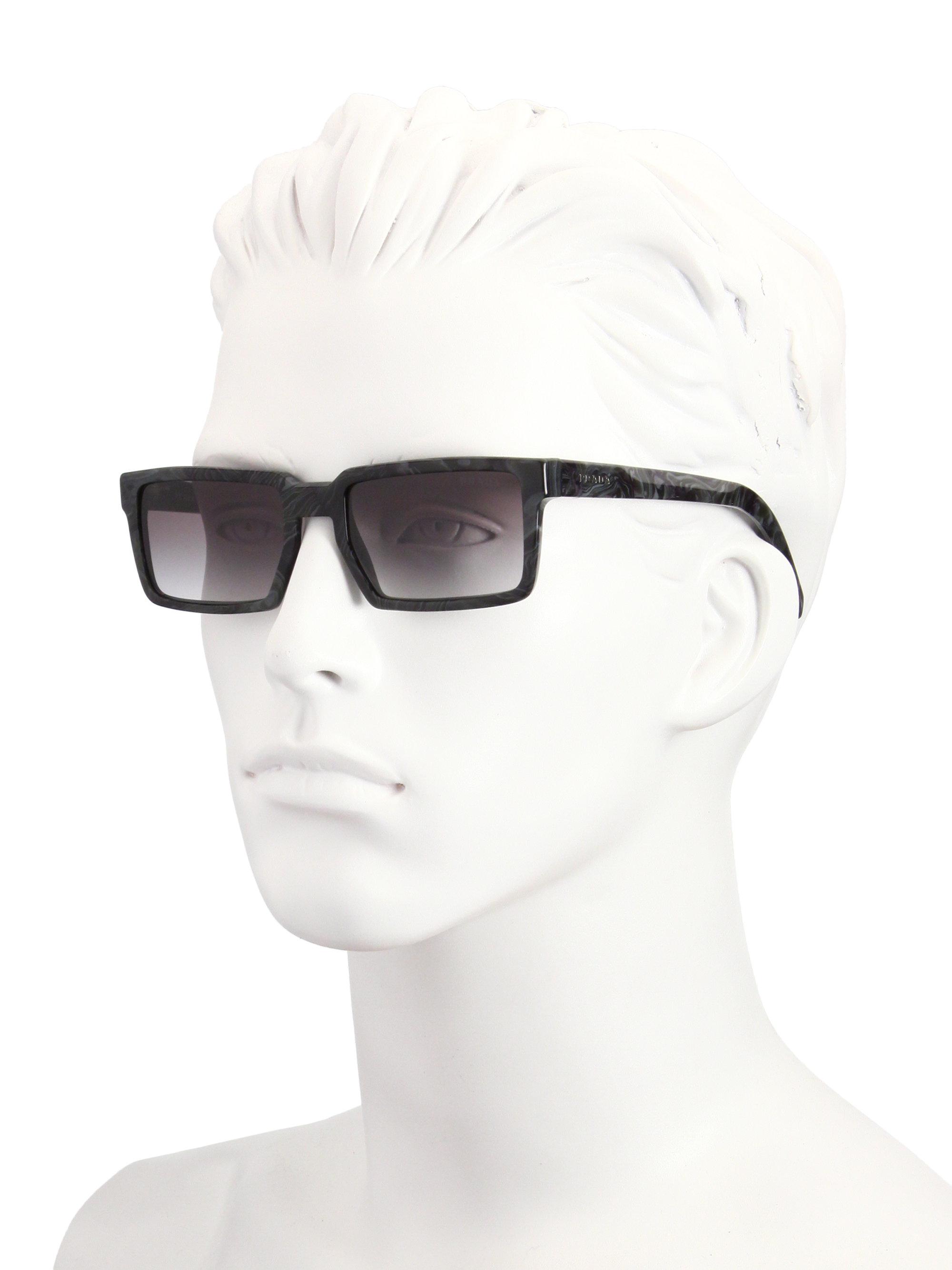 44a8ff5bdf Prada 54mm Rectangle Acetate Sunglasses in Black for Men - Lyst