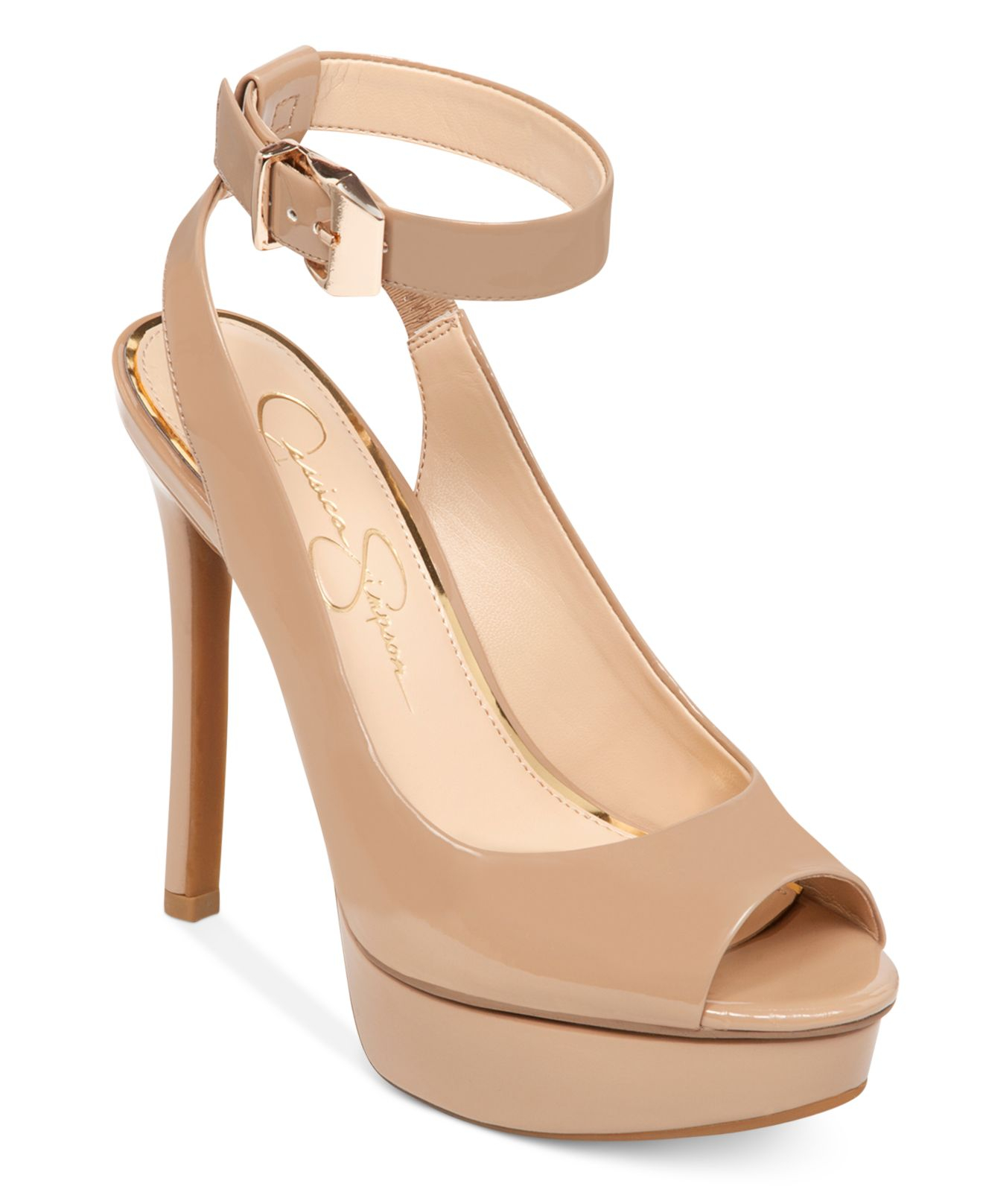 1b14cf80ec7950 Jessica Simpson Ankle Strap Heels. Lyst - Jessica simpson Careen Ankle  Strap Platform Pumps in Natural