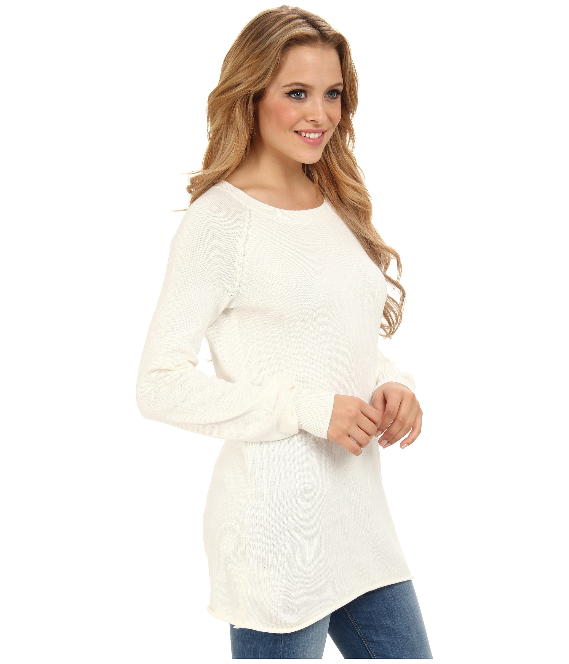 Bcbgeneration Solid Boyfriend Sweater in White | Lyst