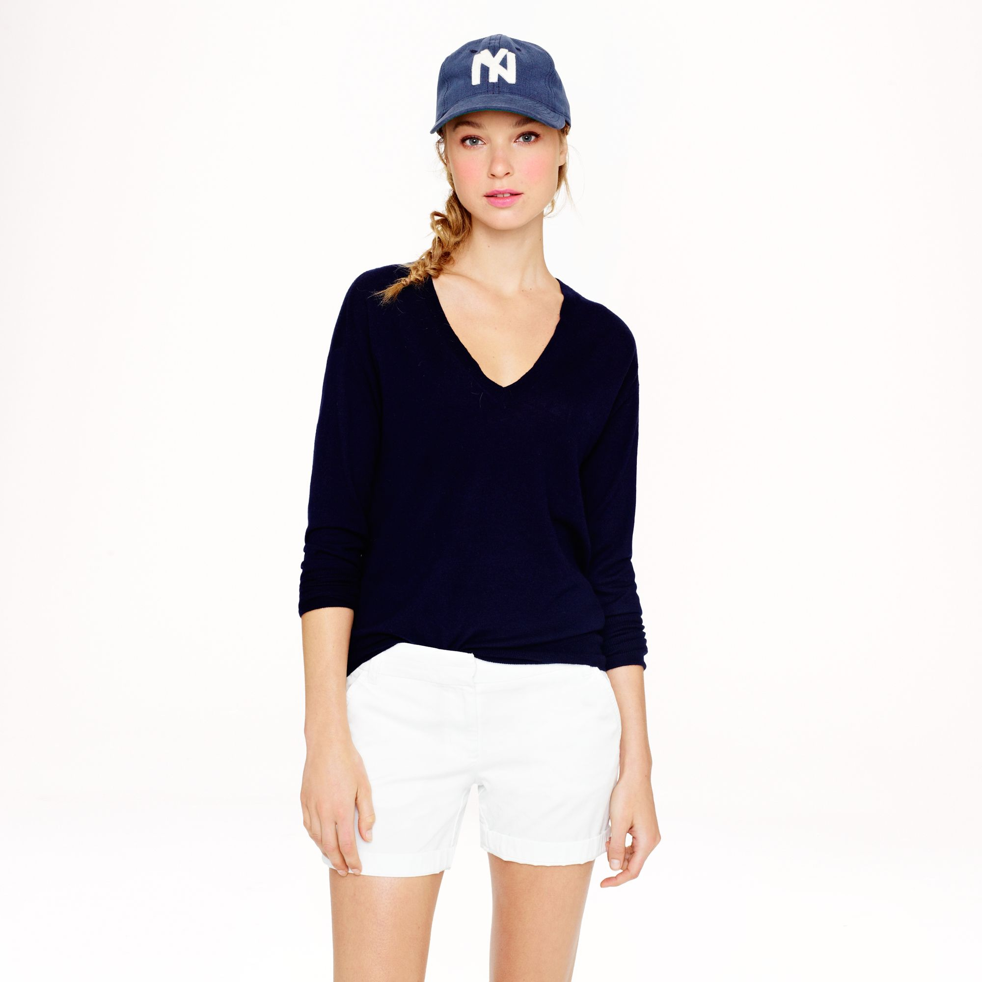 Lyst - J.Crew Collection Featherweight Cashmere V-neck Sweater in Blue 224a69f155