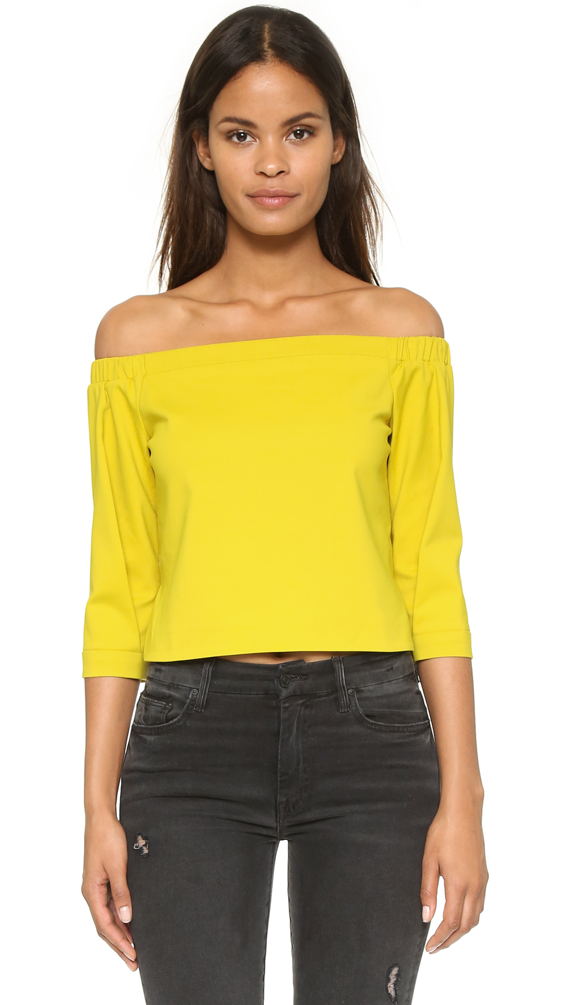 448755feae7 Tibi Off Shoulder Top - Nanook Navy in Yellow - Lyst
