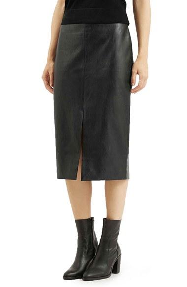 topshop faux leather split skirt in black lyst