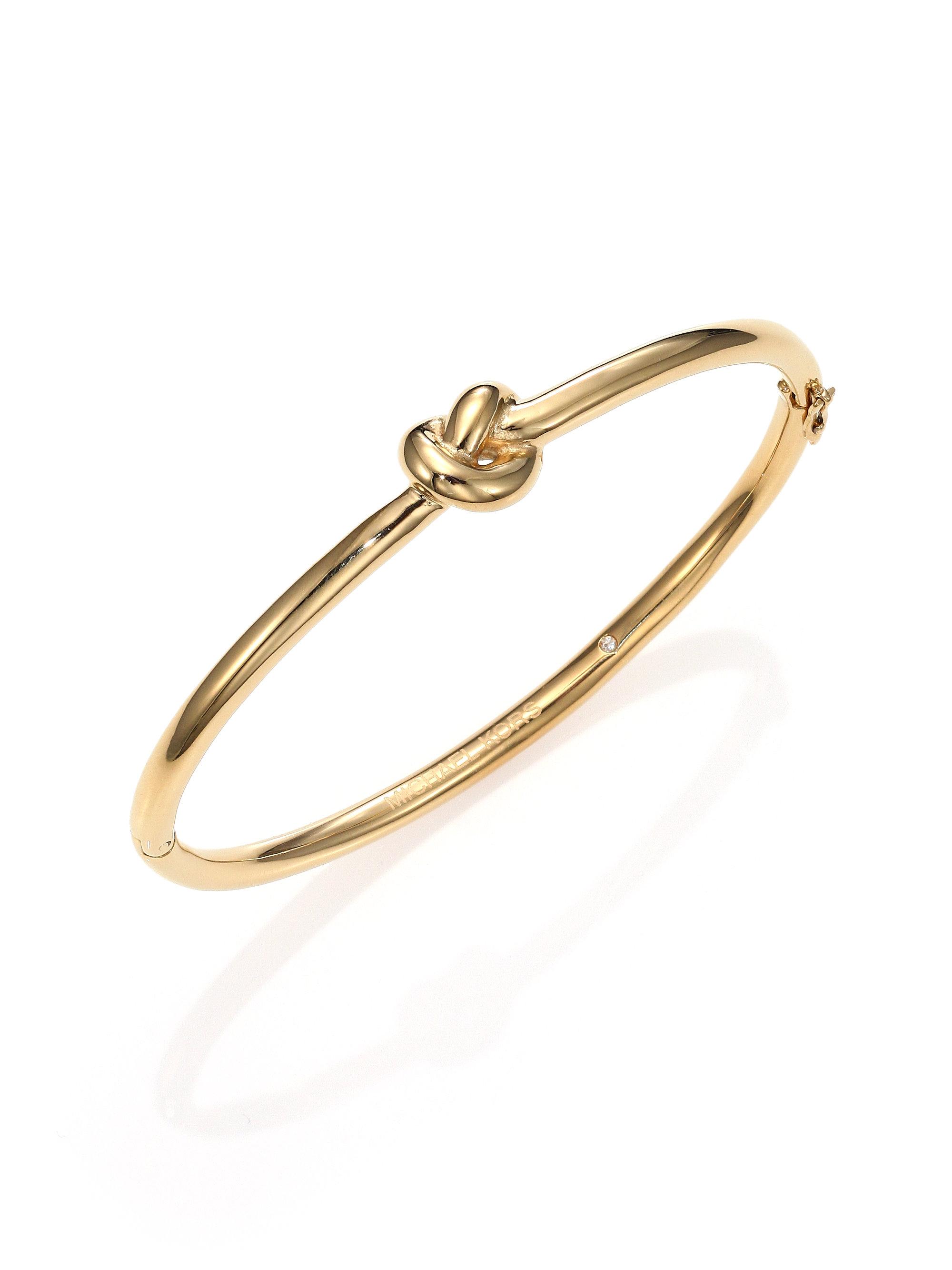 michael kors brilliance knots bangle bracelet goldtone in. Black Bedroom Furniture Sets. Home Design Ideas