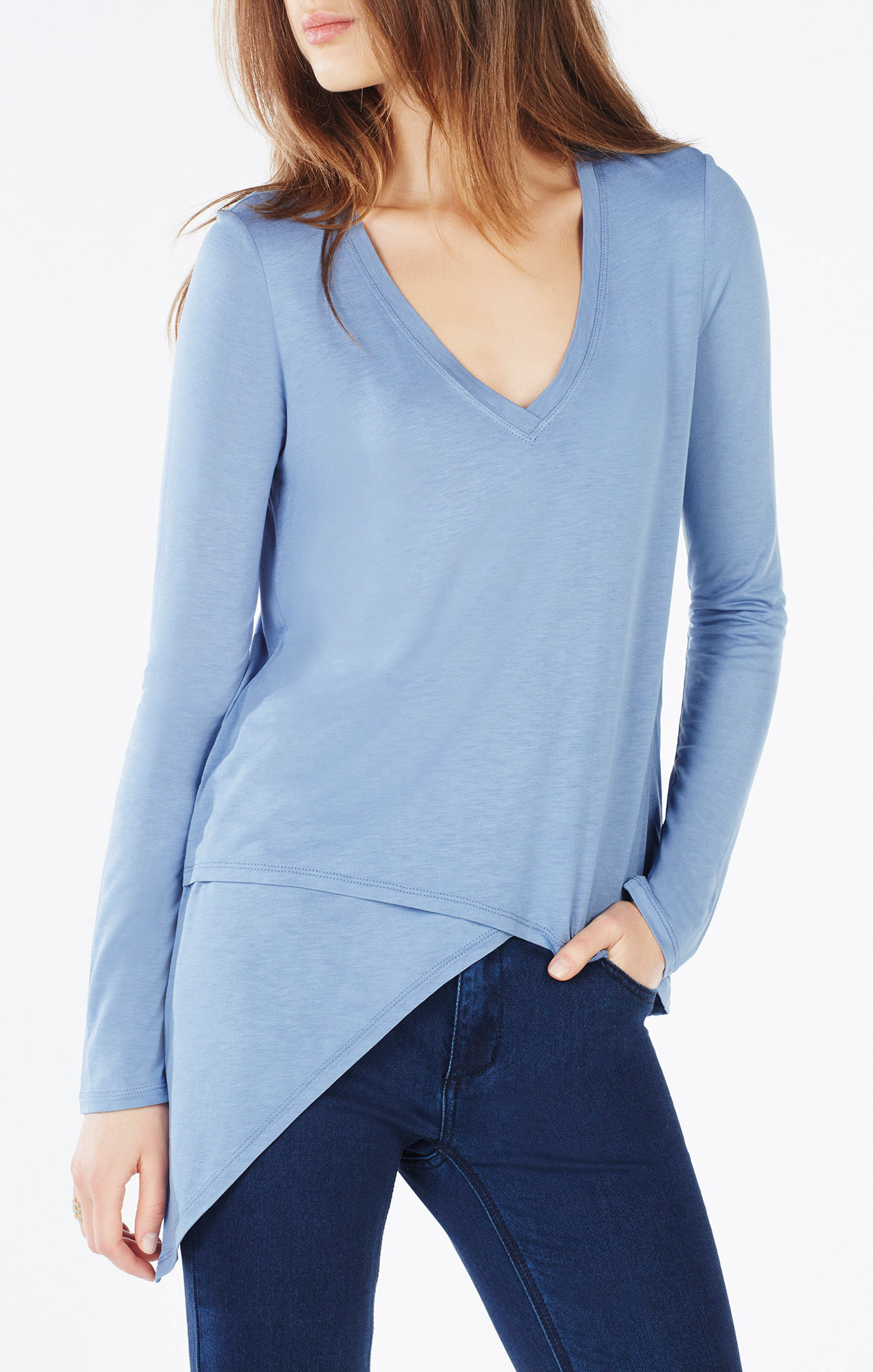 Top Blue Nail Art Designs To Suit Your Blue Costumes: Bcbgmaxazria Ayliza Asymmetrical Top In Blue