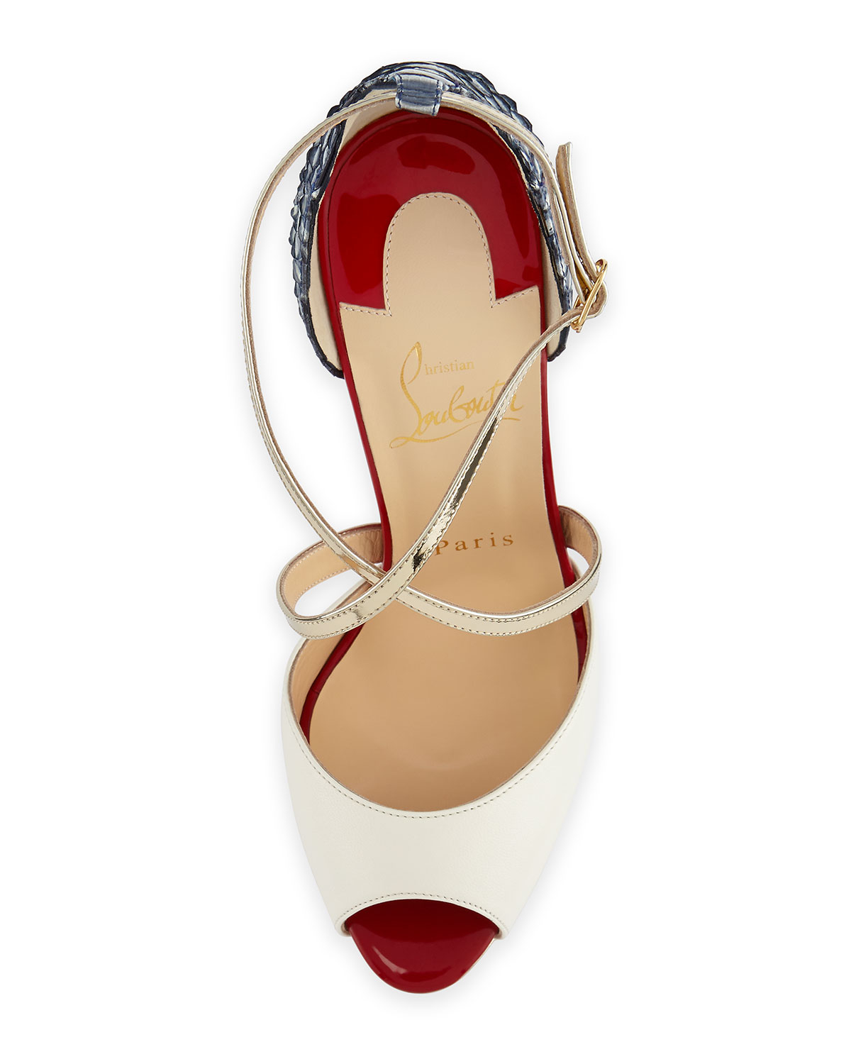 mens white christian louboutin - christian louboutin sandals Metallic multiple cross straps ...
