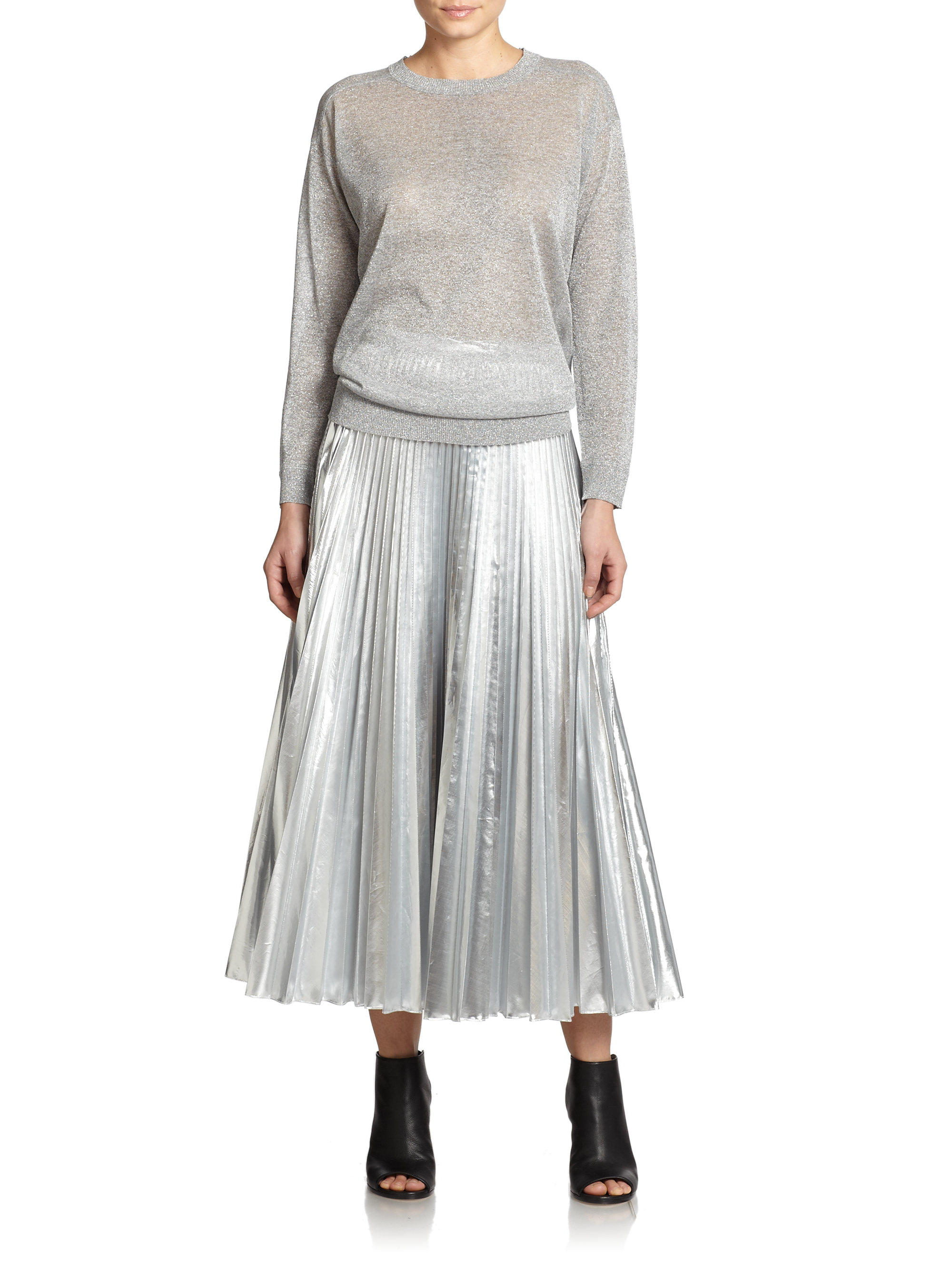 Dkny Metallic Pleated Maxi Skirt in Metallic | Lyst