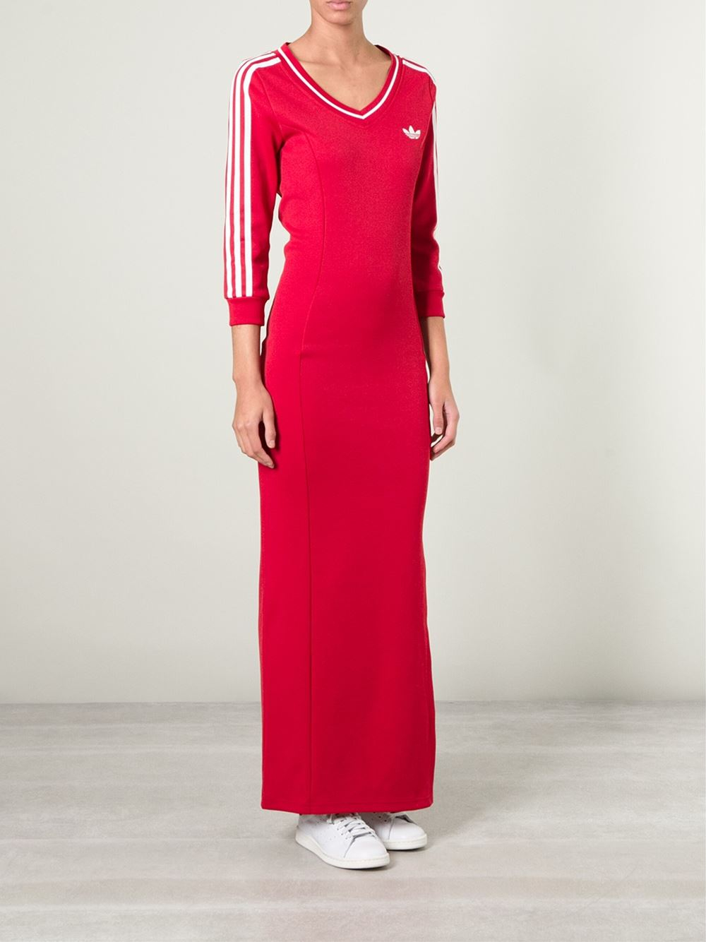 78d122e596 adidas Long Line Jersey Dress in Red - Lyst