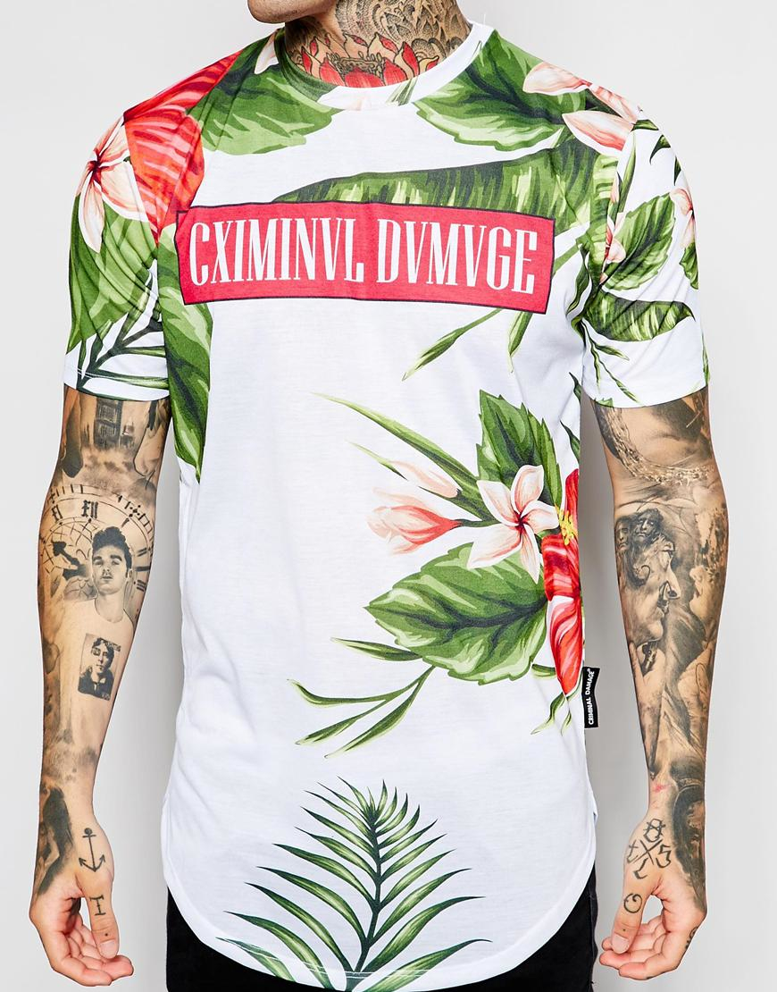 df223a42 Criminal Damage Longline T-shirt With Tropical Print in White for ...