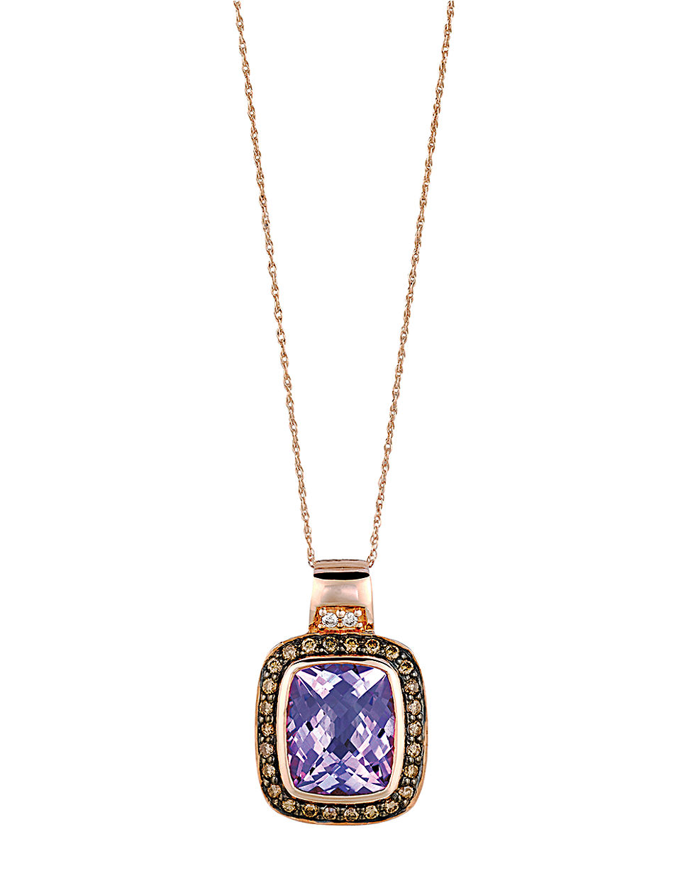 le vian 14k gold and amethyst pendant necklace with