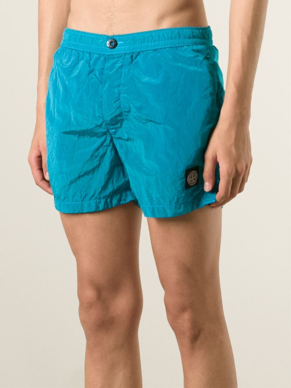 stone island logo swim shorts in blue for men lyst. Black Bedroom Furniture Sets. Home Design Ideas