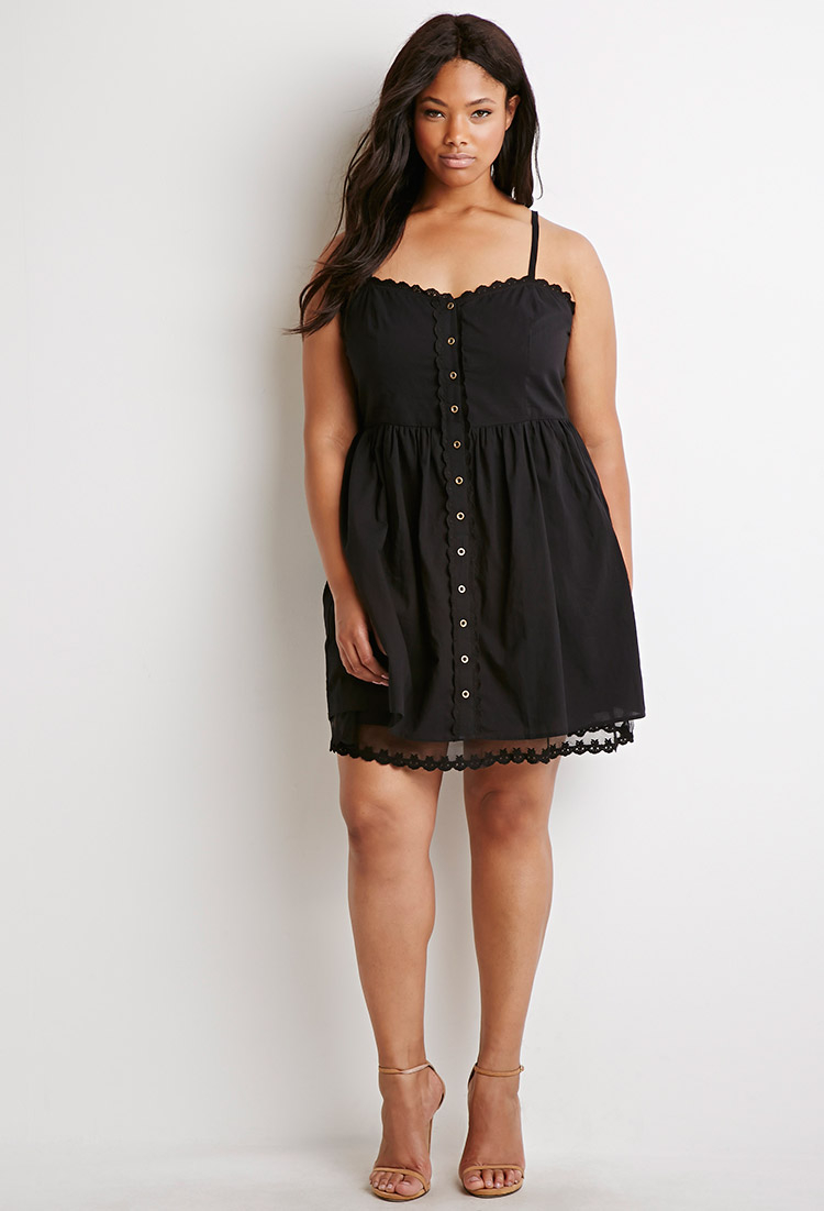 1d5e38bfd45f Forever 21 Plus Size Lace-trimmed Cami Dress in Black - Lyst