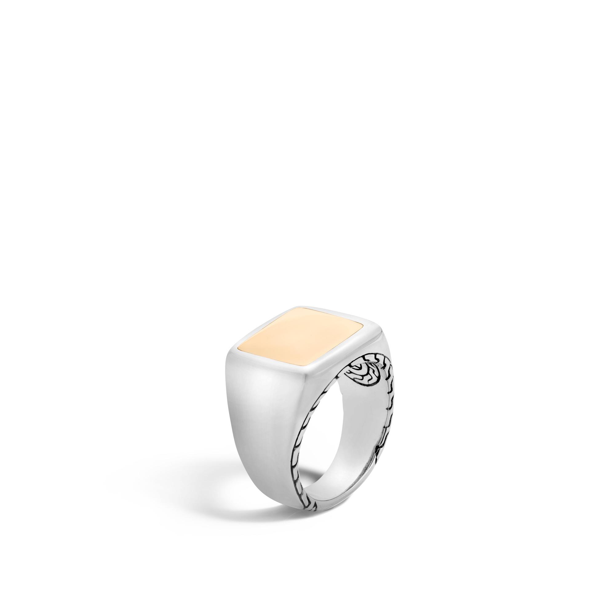 John Hardy Mens Classic Chain Rhodium-Plated Signet Ring with Diamonds 23BquN