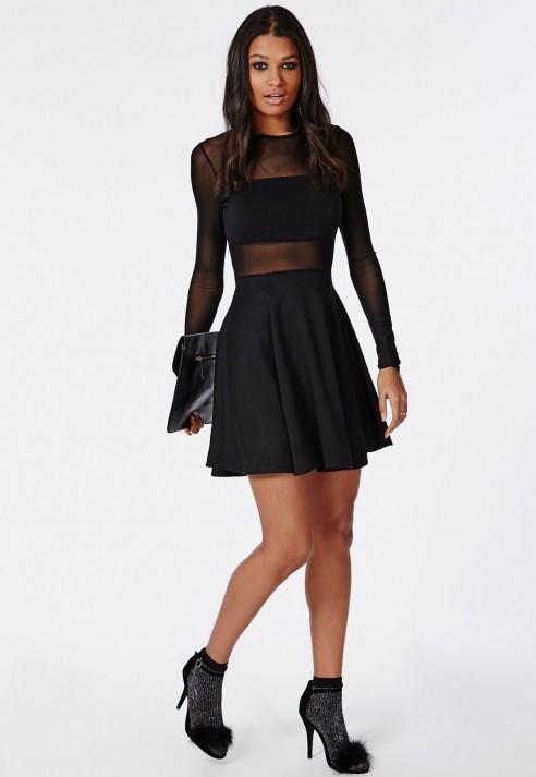 a2bcc9dcb4 Lyst - Missguided Mesh Insert Long Sleeve Skater Dress Black in Black
