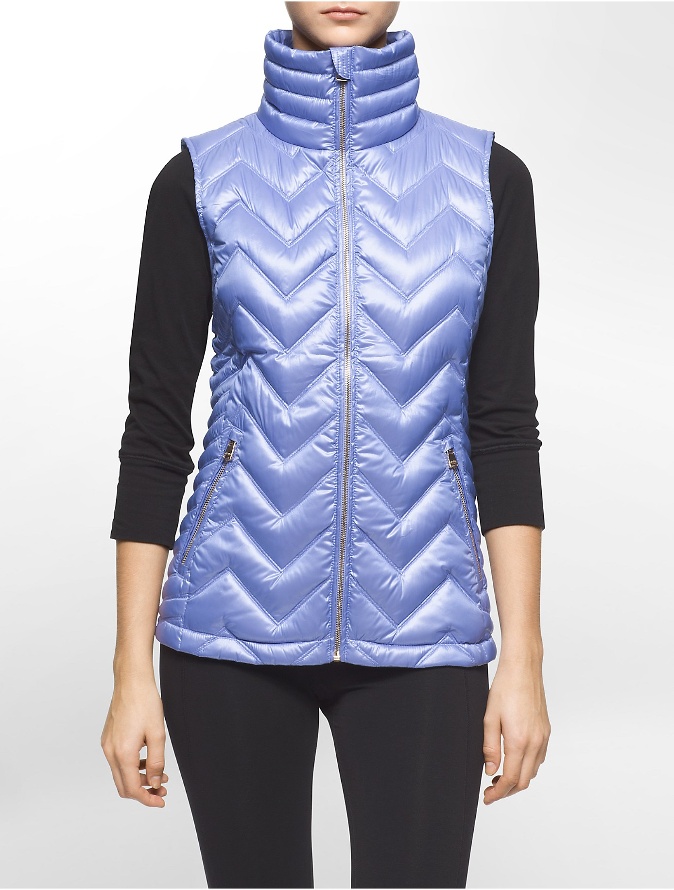 Calvin Klein Performance Quilted Down Vest In Purple Lyst