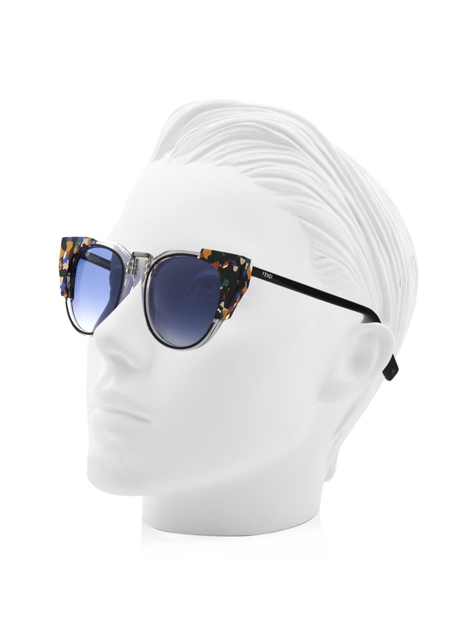 cf068816dd9b Lyst - Fendi Marble-Print Cat-Eye Sunglasses in Blue