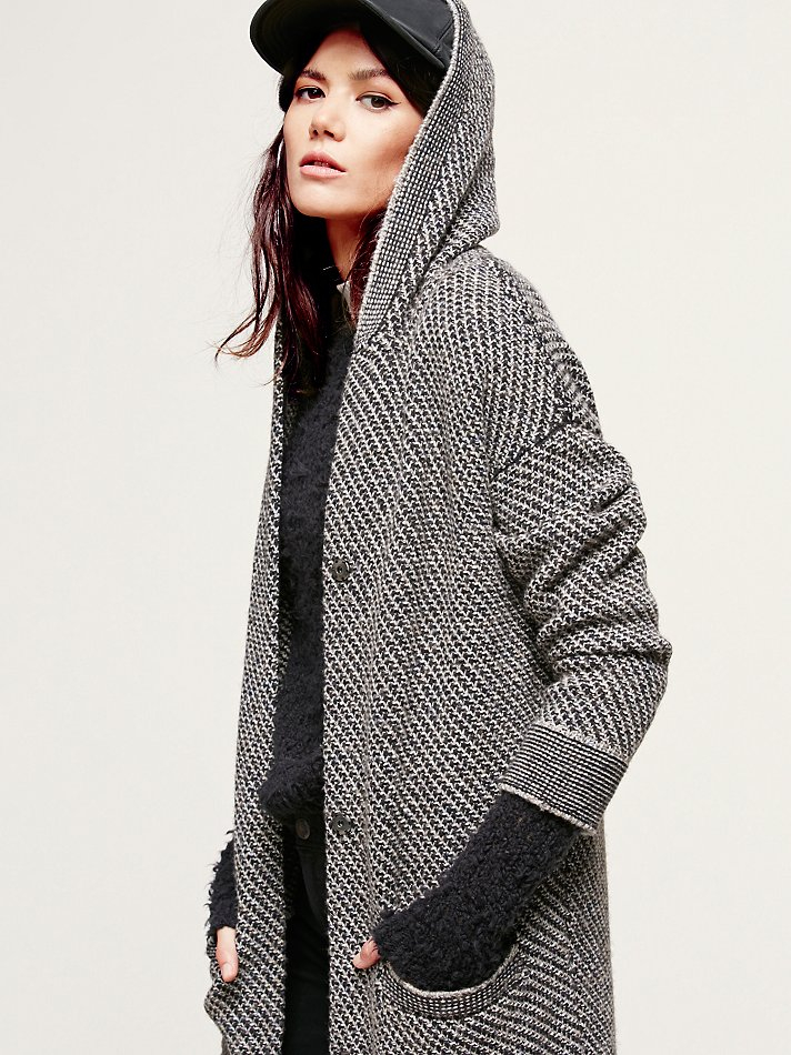 Free people Right Angles Hooded Sweater Jacket in Black | Lyst