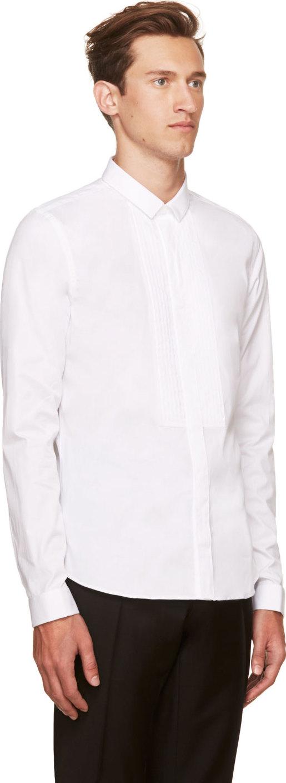 Burberry Prorsum White Poplin Button Up Dress Shirt In