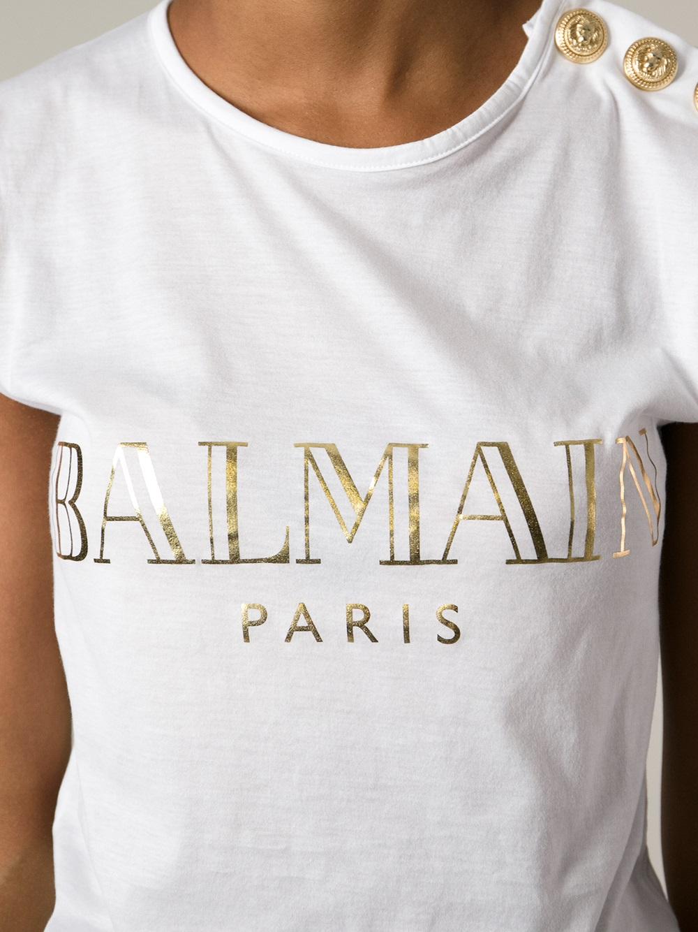 Balmain Brand Print T Shirt In White Lyst