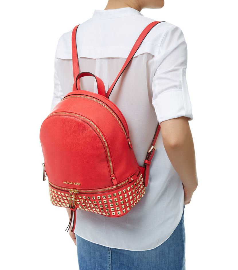 33902d43dec4 spain michael michael kors rhea small studded backpack in red lyst d2908  f89f7