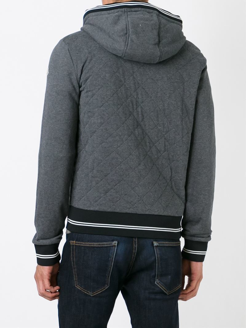 Moncler Quilted Fleece Jacket in Gray for Men | Lyst