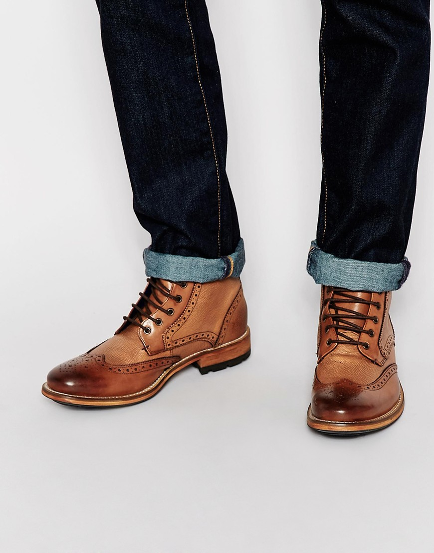 ted baker sealls leather brogue boots in brown for lyst