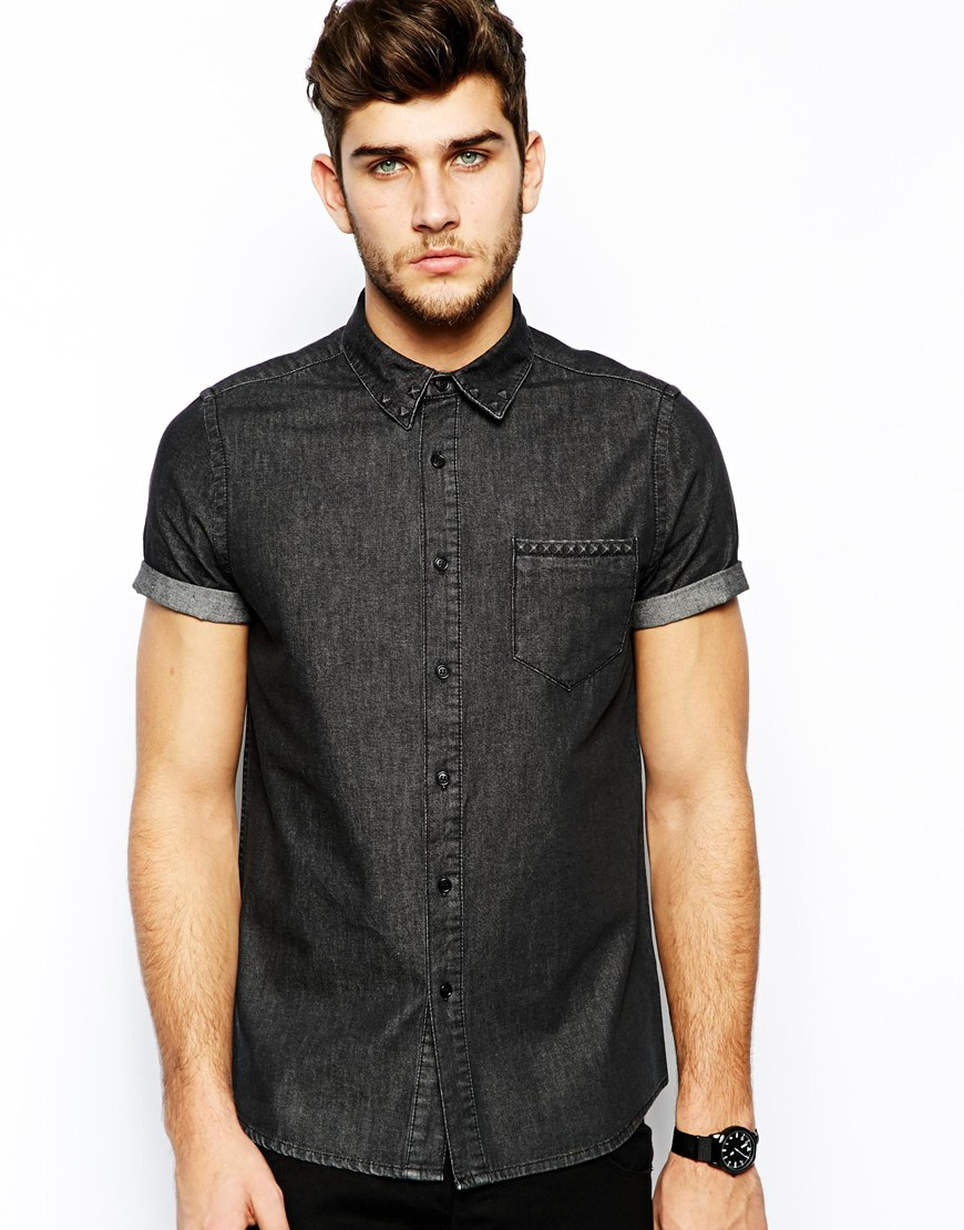 Asos Denim Shirt In Short Sleeve With Embossed Studs in Black for ...