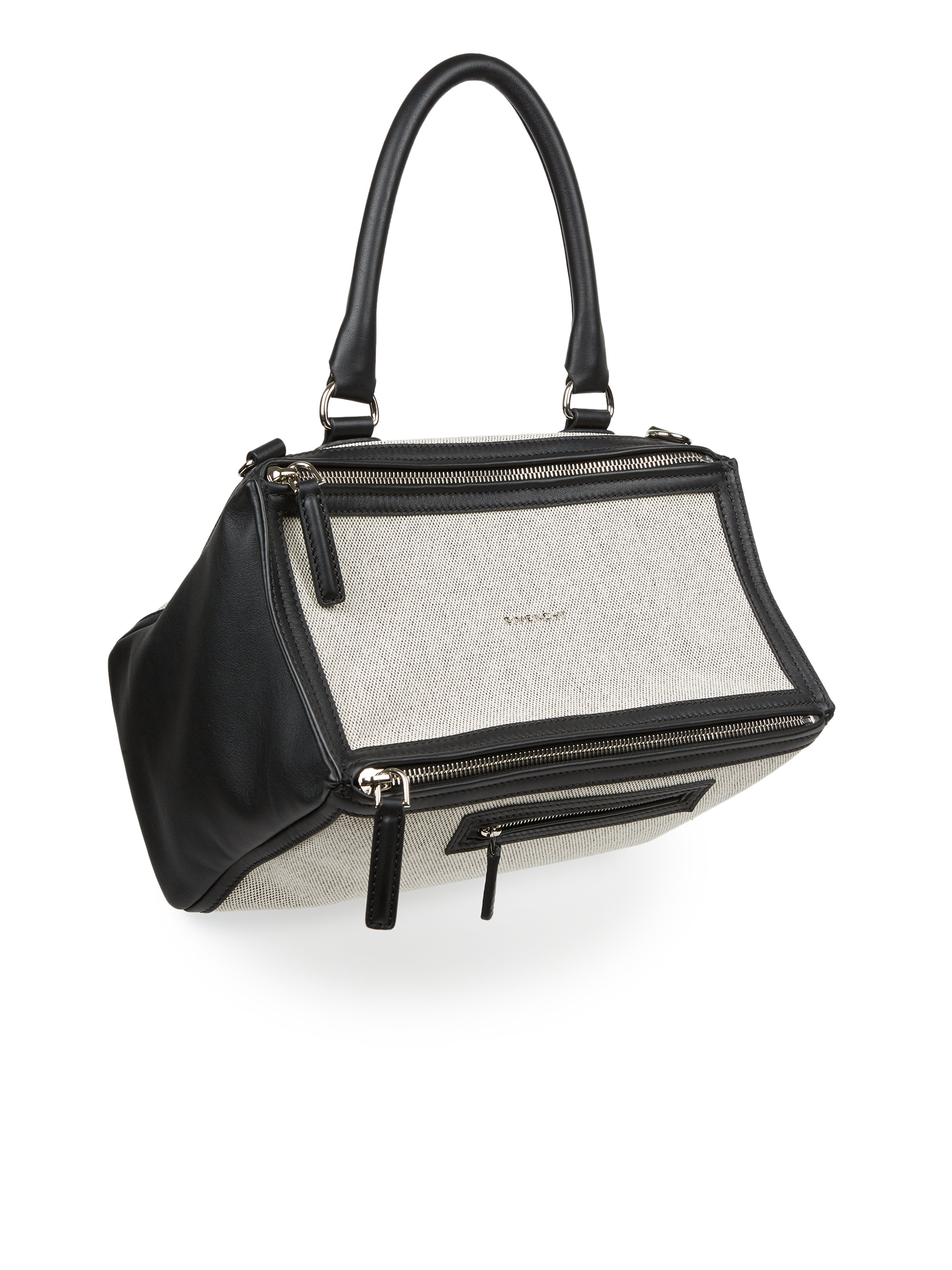 Lyst - Givenchy Pandora Medium Leather   Canvas Shoulder Bag in Black fc731edfe3dfc