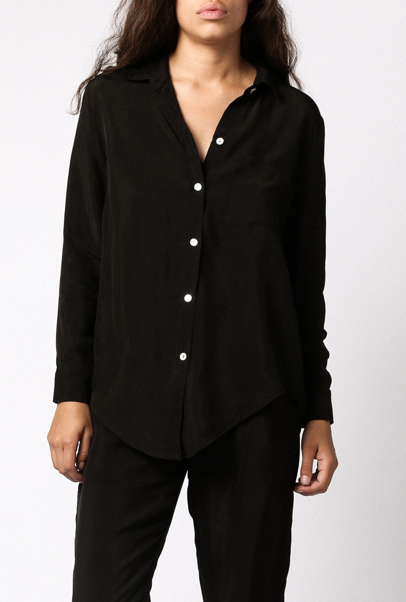 Objects Without Meaning Silk Button Down Shirt In Black Lyst