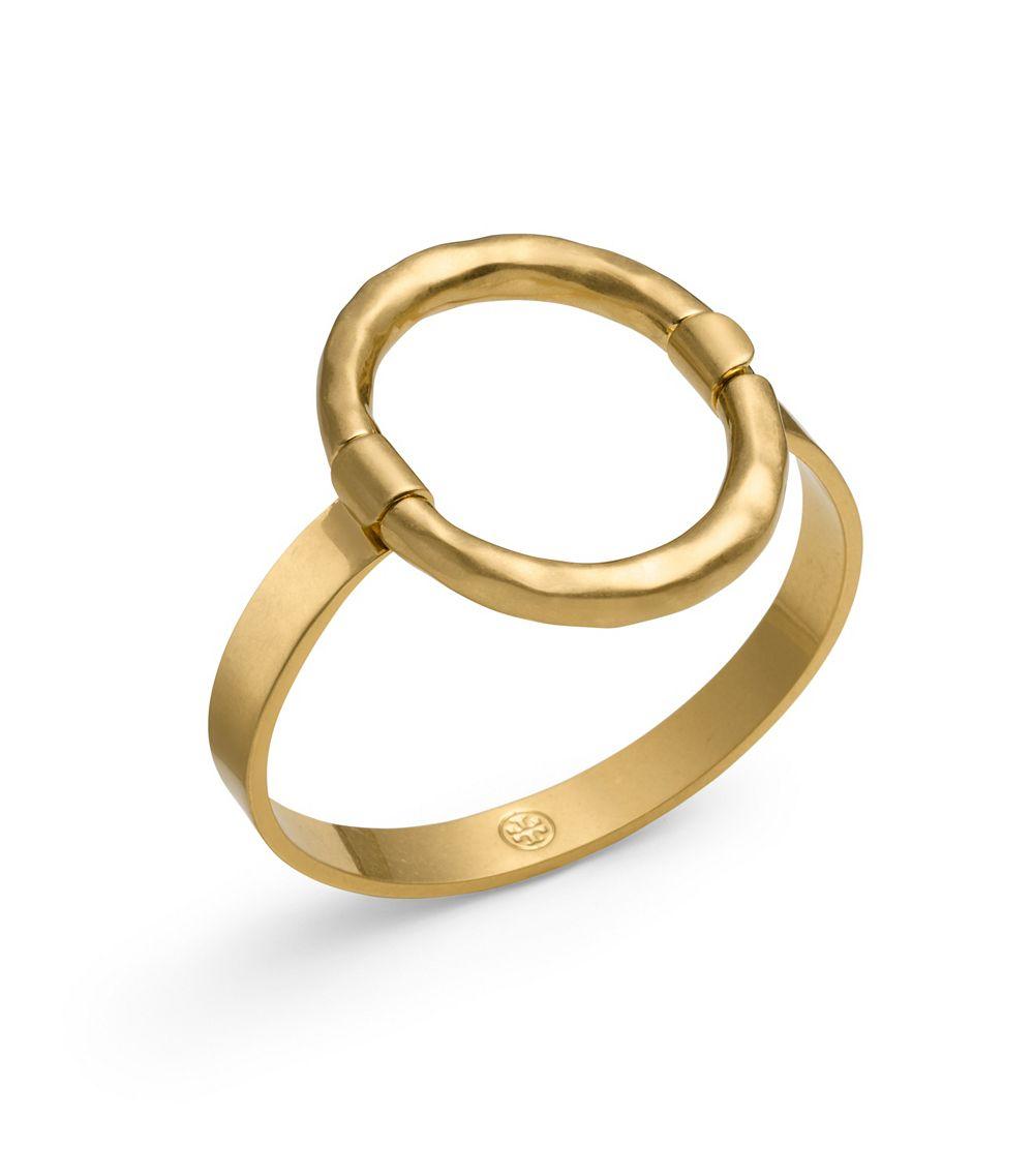 Lyst Tory Burch Oval Metal Bracelet In Metallic