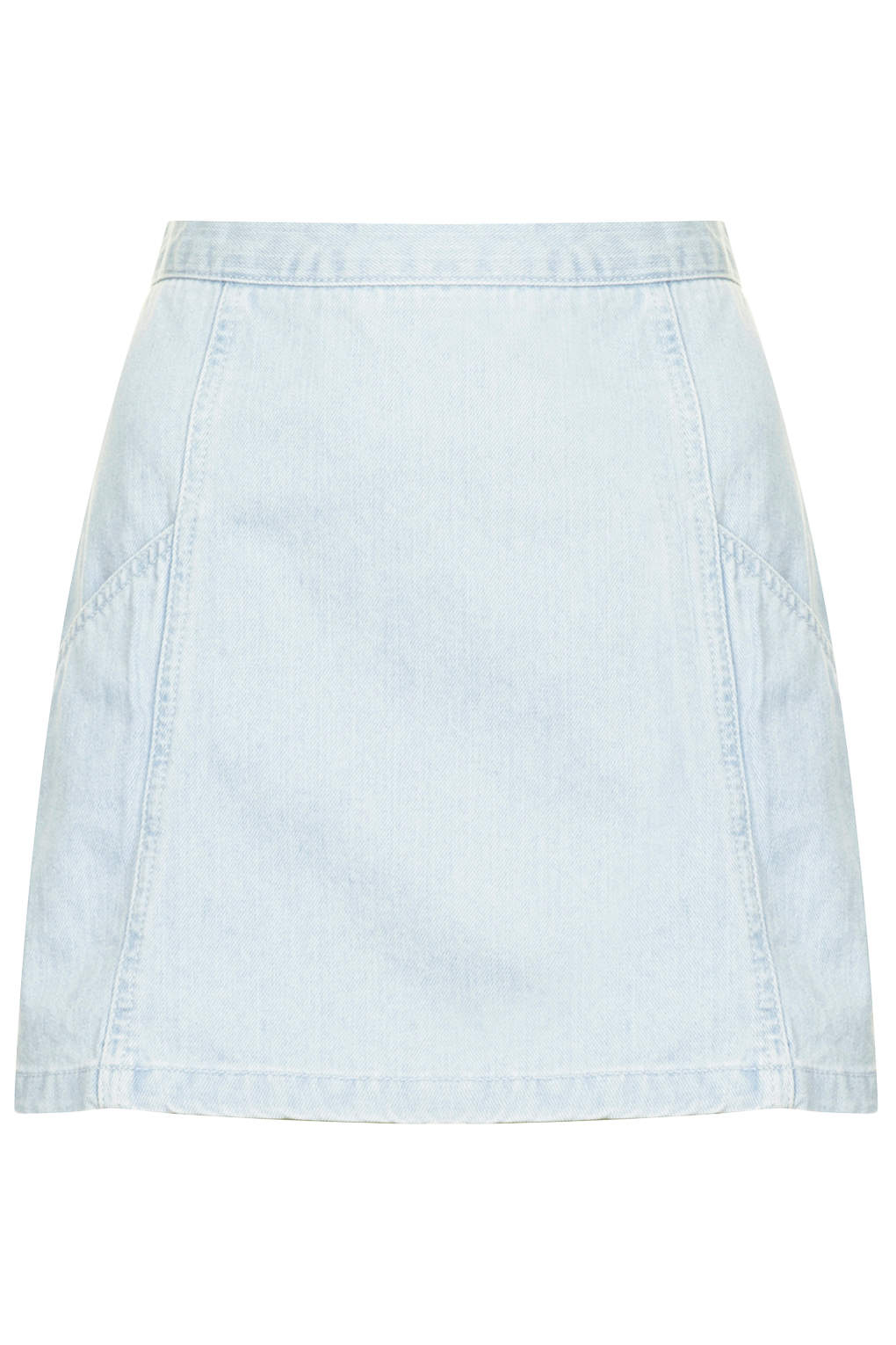topshop moto denim zip back mini skirt in blue lyst