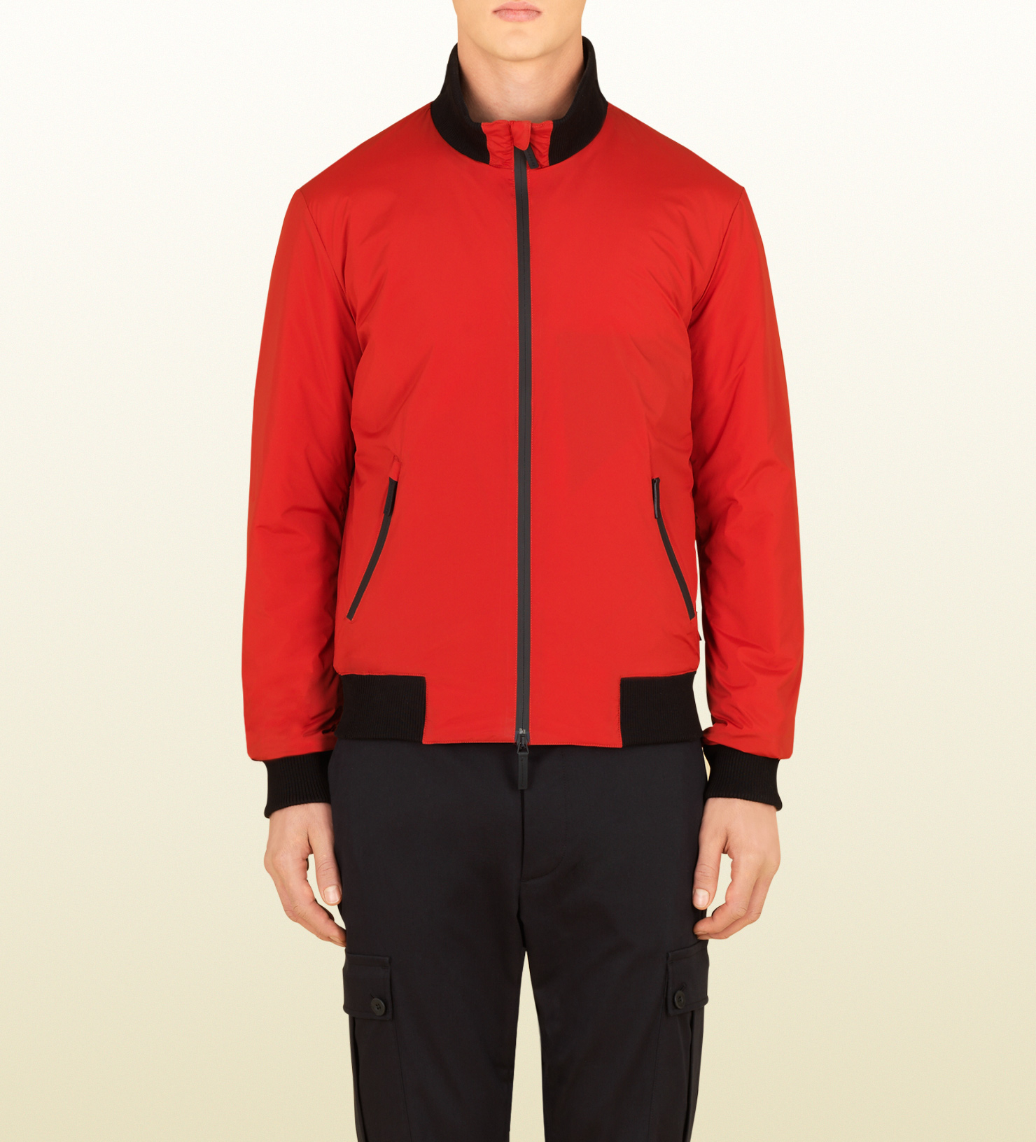 cc36e903d Gucci Mens Red Nylon Padded Jacket From Viaggio Collection in Red ...