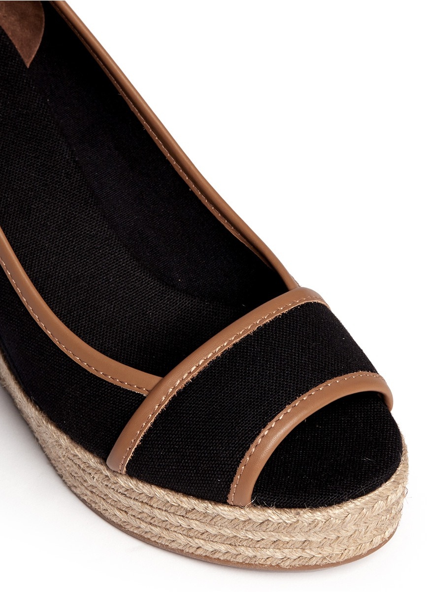 5b9df5c18bb2 Lyst - Tory Burch  Majorca  Canvas Espadrille Wedge Sandals in Black